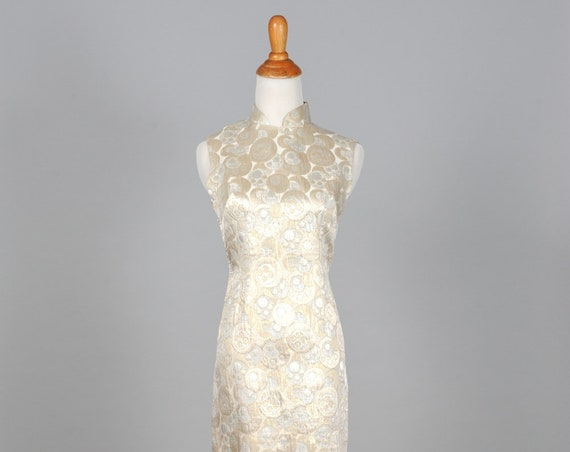 1960 Metallic Jacquard Vintage Wedding Dress