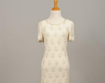 1960 Beaded Sheath Vintage Wedding Dress