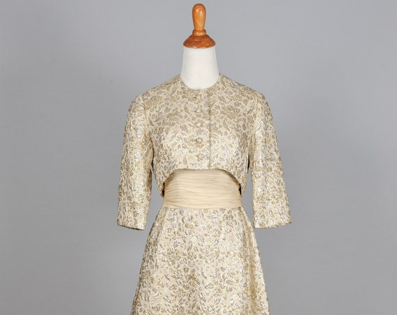 1960 Gold Brocade Vintage Wedding Ensemble