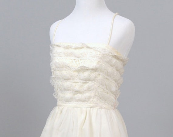 1960 Lace and Chiffon Vintage Wedding Gown