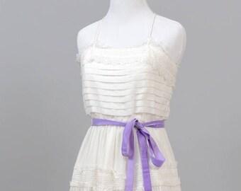 1970s Pin Tuck  Cotton Vintage Wedding Dress