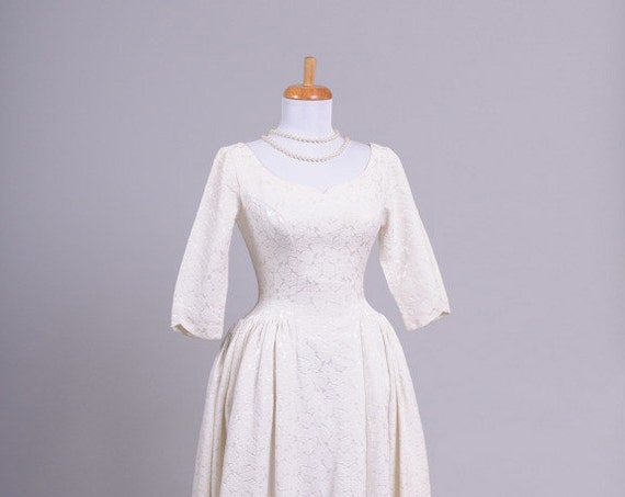 1960 Rose Brocade Vintage Wedding Gown