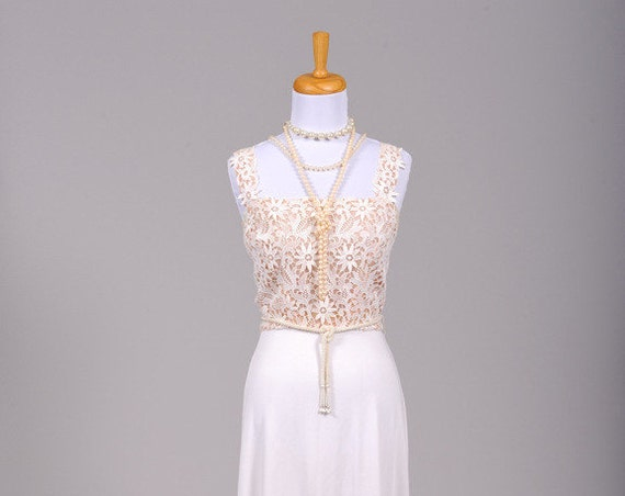 1970 Crocheted Daisy Vintage Wedding Gown