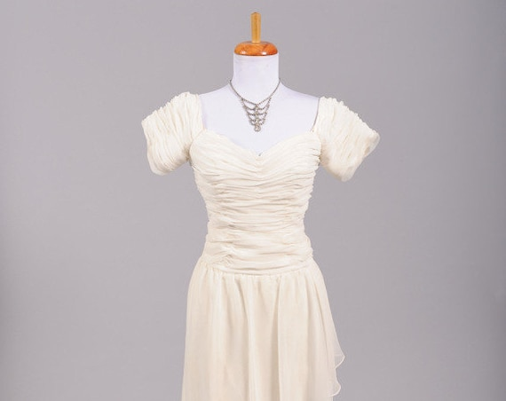 1970 Ruched Wrap Vintage Wedding Gown