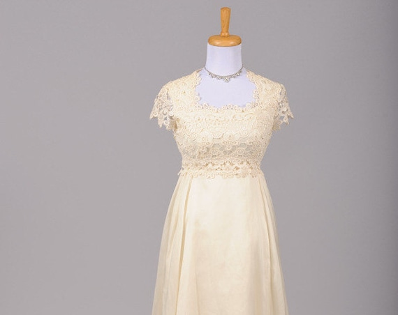 1960 Crocheted Vanilla Lace Vintage Wedding Gown