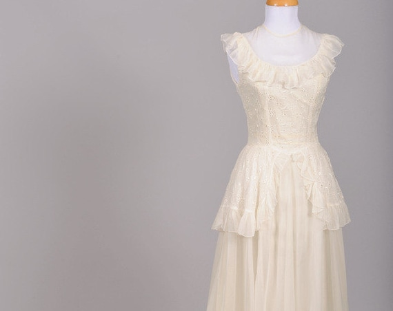 1940 Eyelet Organdy Vintage Wedding Gown