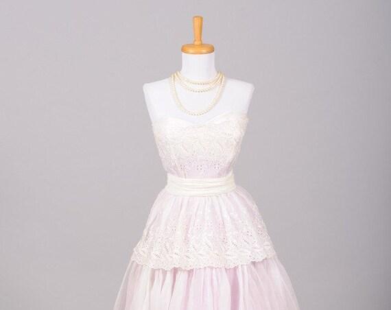 1950 Lavender Organdy Vintage Wedding Gown