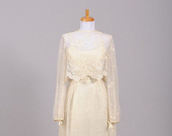 1970 Lace Vintage Wedding Ensemble
