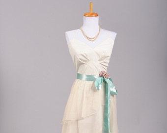1970s Asymmetrical Chiffon Vintage Wedding Dress
