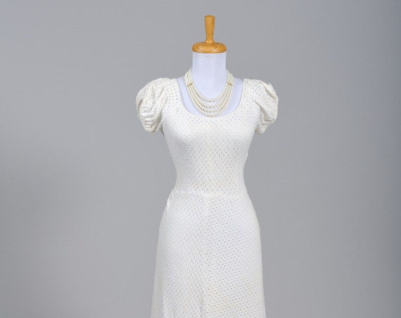 1940 Cotton Jersey Eyelet Vintage Wedding Gown