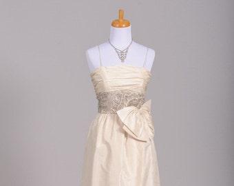 1960 Silk Wrap Vintage Wedding Gown