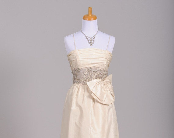1960 Silk Wrap Vintage Wedding Gown