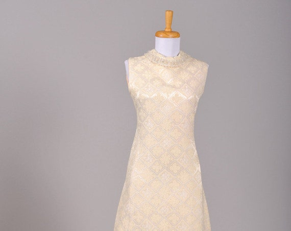1960 Jeweled Damask Vintage Wedding Dress
