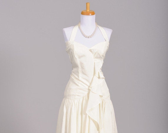 1980 Asymmetrical Vintage Wedding Dress