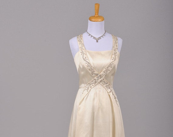 1960 Beaded Silk Vintage Wedding Gown