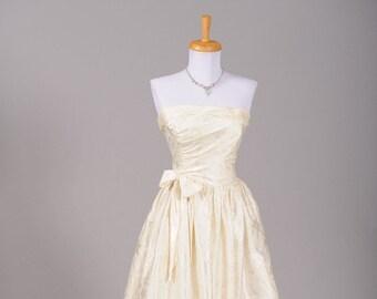 1970 Bustled Damask Satin Vintage Wedding Gown