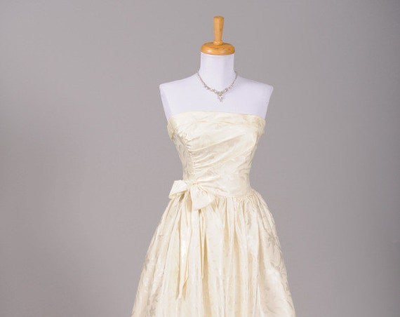 1970 Bustled Damask Satin Vintage Wedding Gown