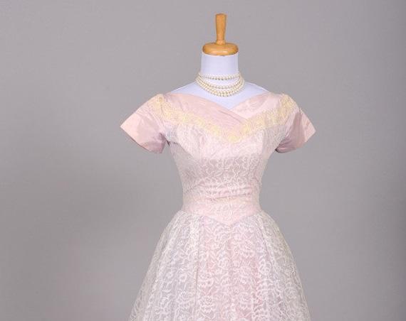 1950 Lilac Lace Vintage Wedding Dress
