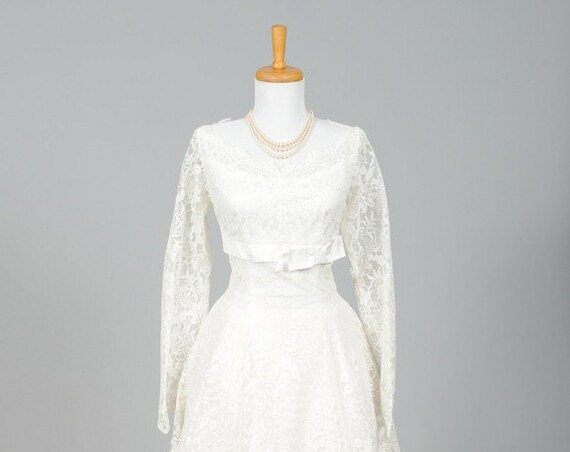 1950 Lace Floral Vintage Wedding Dress