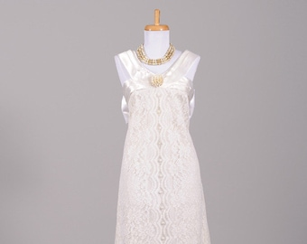 1970s Daisy Brooch Lace and Satin Vintage Wedding Gown