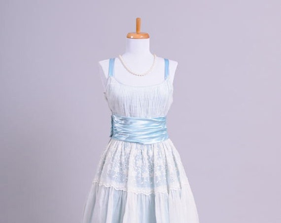 1960 Blue Organdy Vintage Wedding Gown