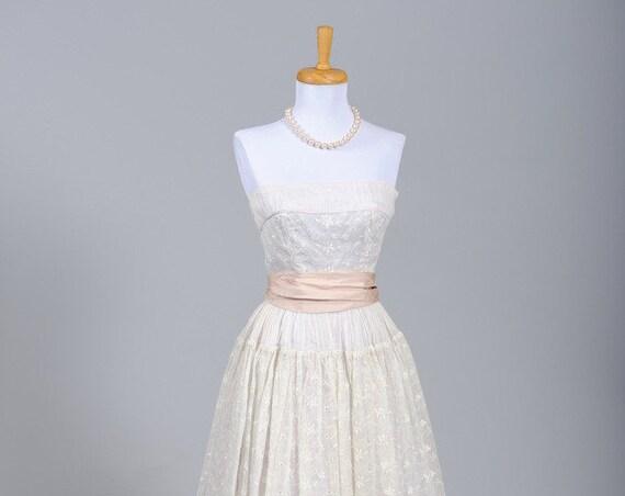 1950 Organdy Vintage Wedding Gown