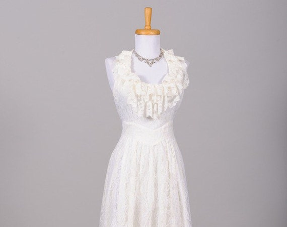 1970 Halter Style Lace Vintage Wedding Gown