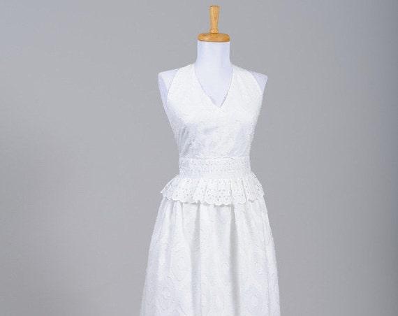 1970 Cotton Halter Vintage Wedding Dress