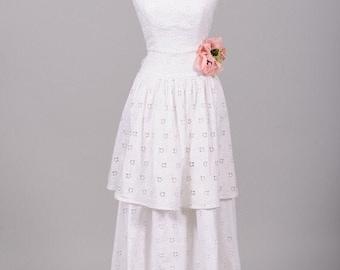 1970s French Designer Eyelet Vintage Wedding Gown