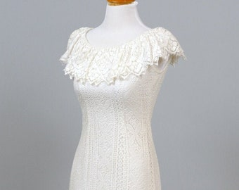 1960 Crocheted Lace Vintage Wedding Gown