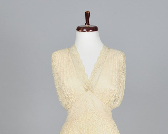 1960 Champagne Draped Lace Vintage Wedding Dress