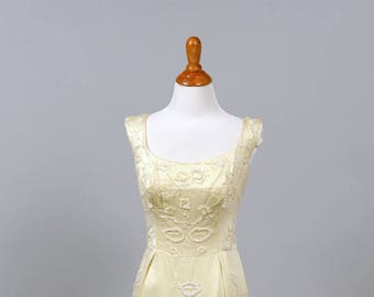 1960 Beaded Silk Champagne Vintage Wedding Gown