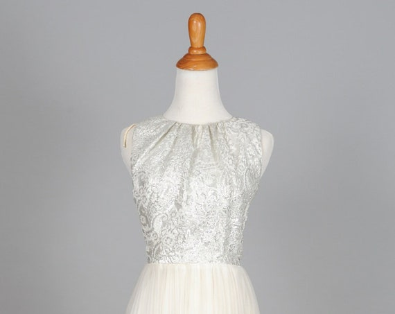 1960 Silver White Brocade  Wedding Dress