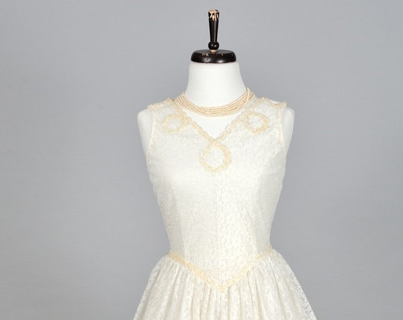 1960 Sheer Lace and Sequin Vintage Wedding Gown