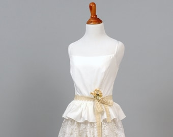 1970 Cotton and Lace Ruffled Vintage Wedding Gown