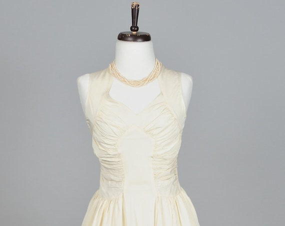 1950 Ivory Ruched Taffeta Vintage Wedding Gown