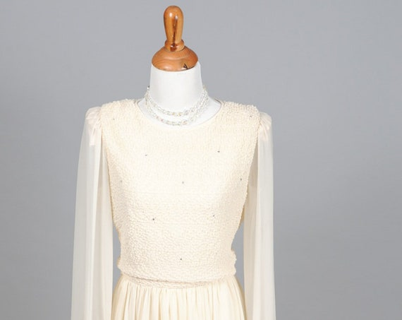 1970 Soutache Vintage Wedding Dress