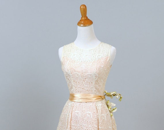 1960 Pink Organza And White Eyelet Vintage Wedding Gown