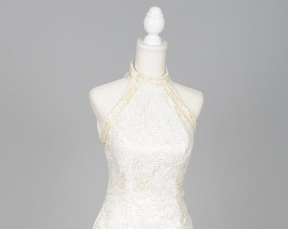 1980 Pearl Halter Vintage Wedding Gown