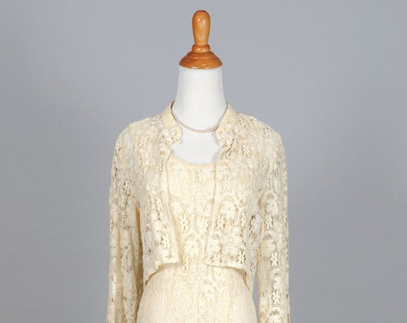 1970 Ivory Lace Vintage Wedding Ensemble