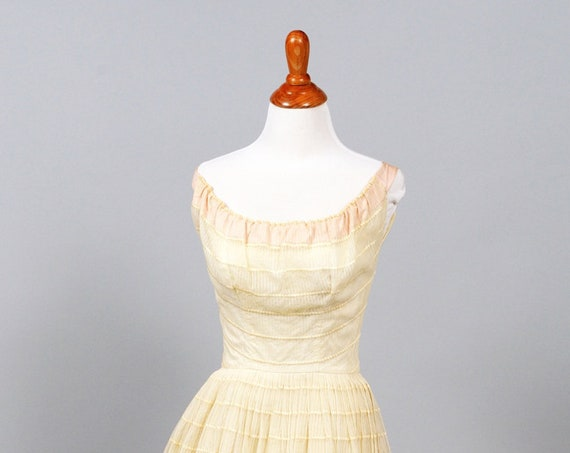 1950 Pink And Cream Embroidered Wedding Dress