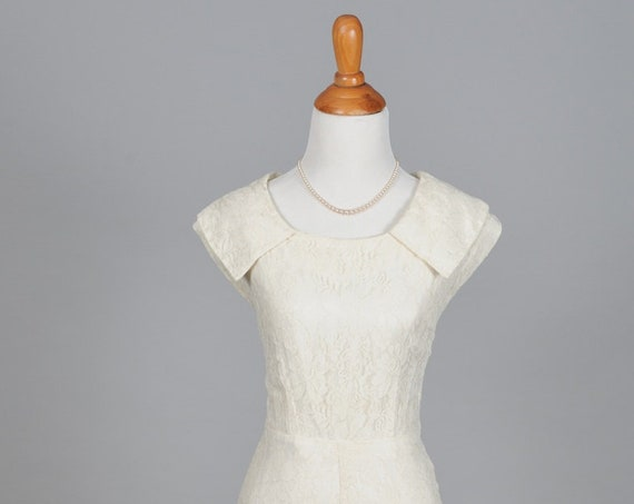 1950 Pale Ivory Vintage Wedding Gown
