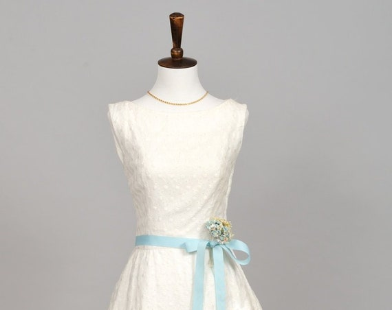 1960 White Pique Peplum Wedding Dress