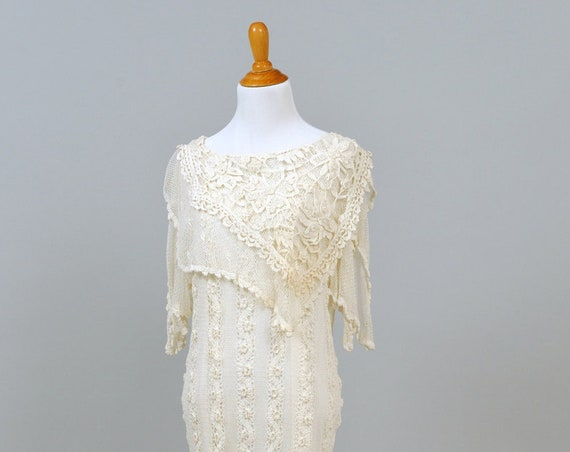 1970 Crochet Vintage Tunic Wedding Dress