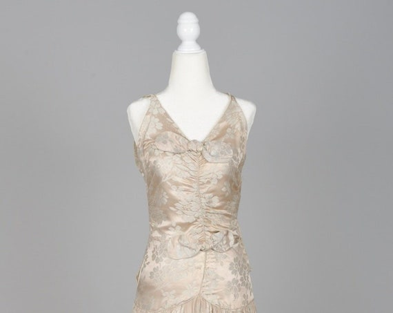 1950 Pewter Damask Vintage Wedding Gown