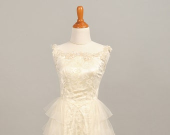 1960 Jeweled Tiered Vintage Wedding Gown