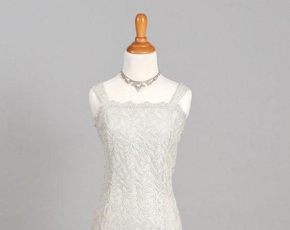 1970 Shimmering Silver Vintage Wedding Dress