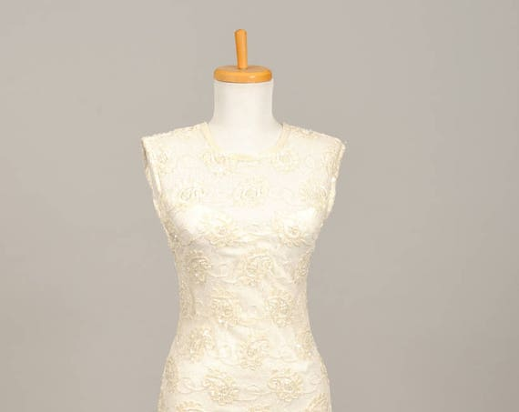 1970 Floral Beaded Sheath Vintage Wedding Gown
