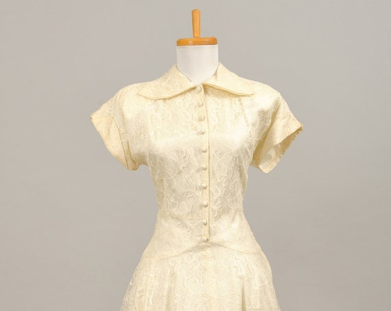 1950 Shirtmaker Lace Vintage Wedding Gown