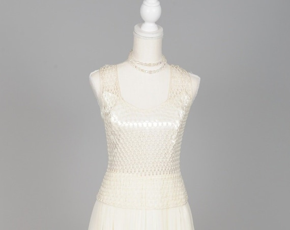 1970 White Pearl Net And Chiffon Vintage Wedding Dress